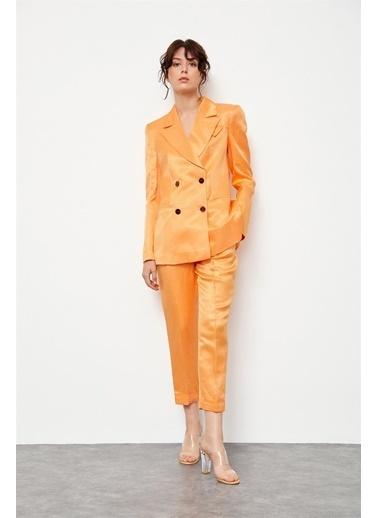 Setre Tozlu Mavi Keten Rayon Ceket Yüksek Bel Pantolon Takım Oranj